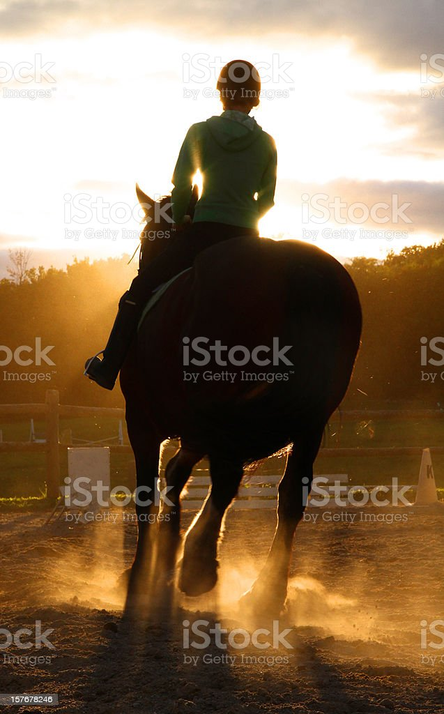 Horse and Rider Silhouetted in Sunset stock photo
