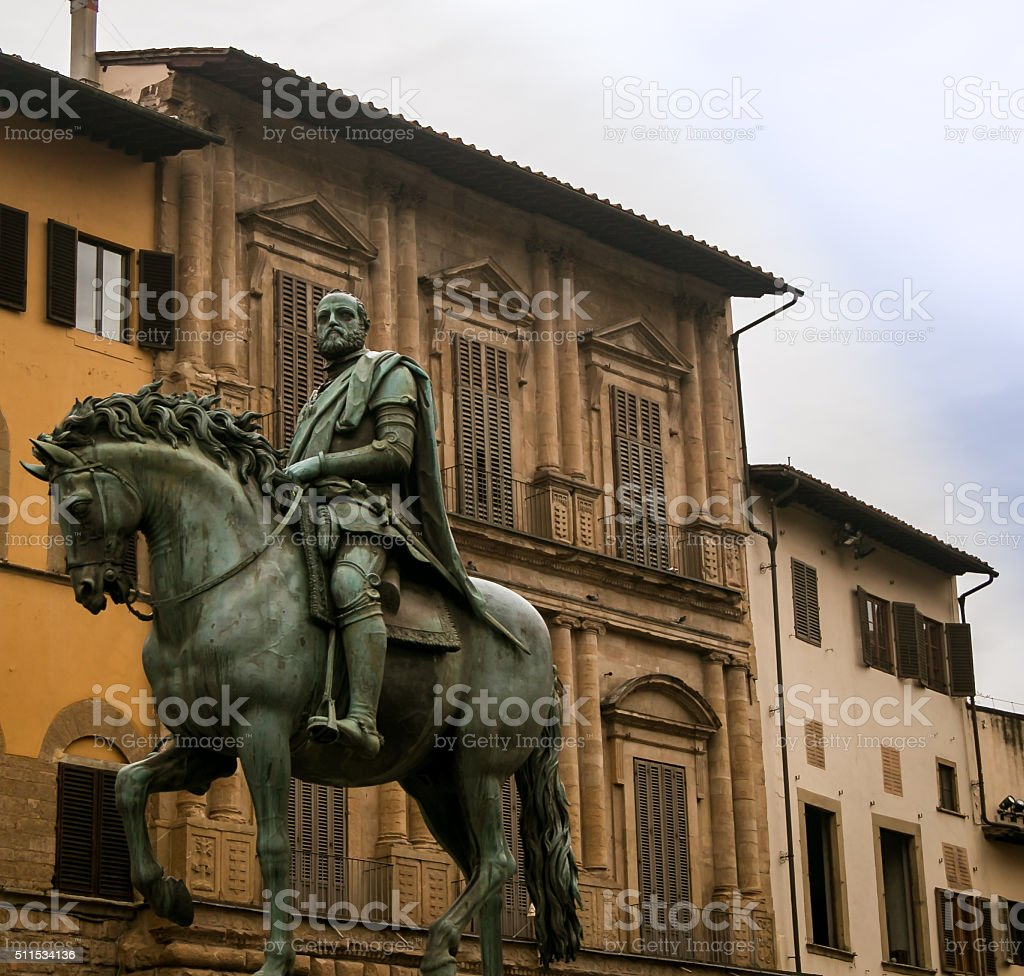 horse and rider statue florence stock photo