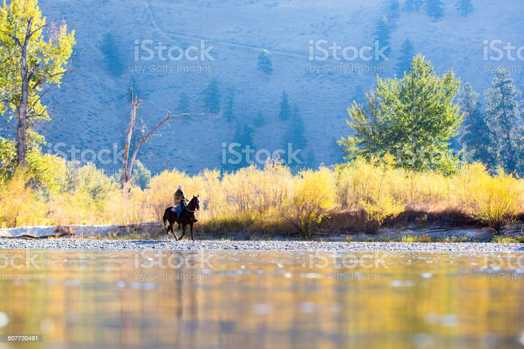 Horse and rider walk along western river bank stock photo