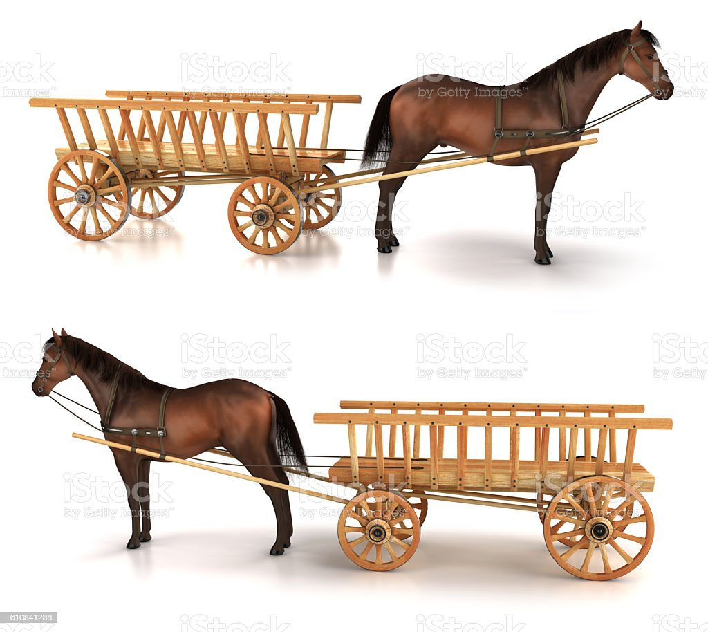 Horse and wagon. 3d illustration stock photo