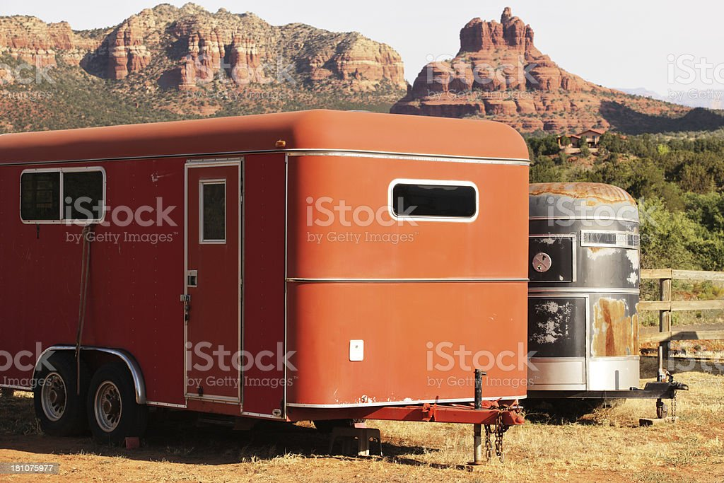 Horse Box Trailers Sedona Arizona stock photo