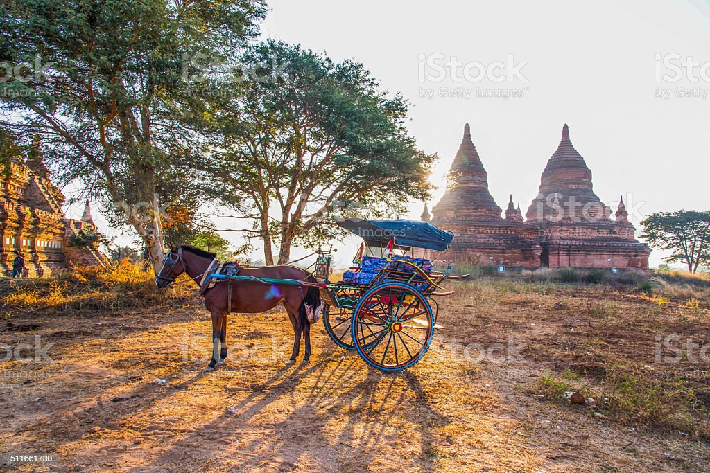 horse carriage for   Ancient Temples tour in Bagan, Myanmar stock photo