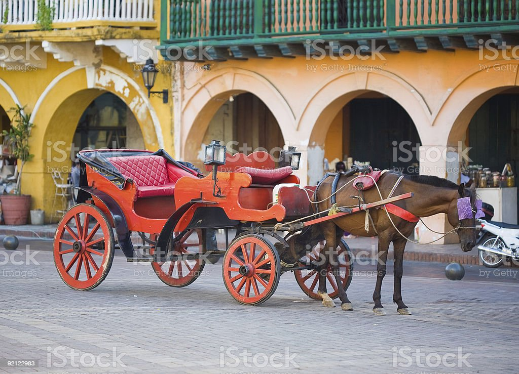 Horse Carriage In Cartagena, Colombia stock photo