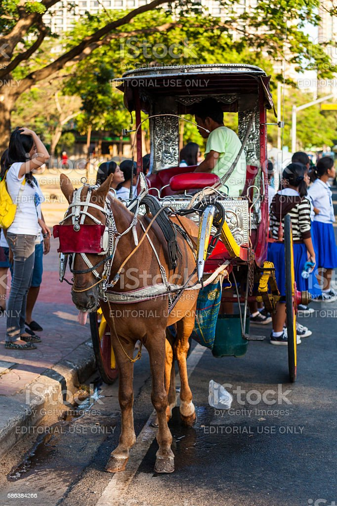 Horse Carriage in Manila, Philippines stock photo