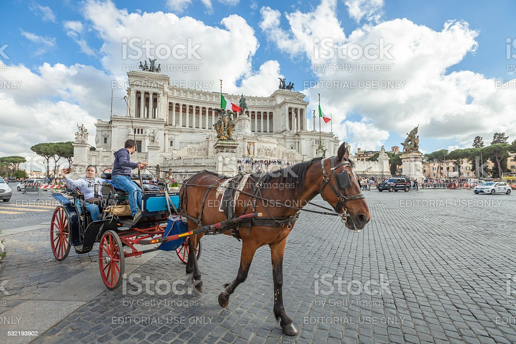 Horse carriage in Rome stock photo