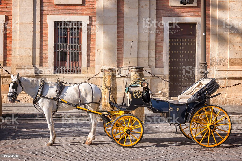 Horse carriage in Seville, Andalusia, Spain stock photo
