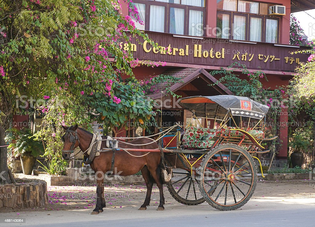 Horse carriage wait for tourist stock photo