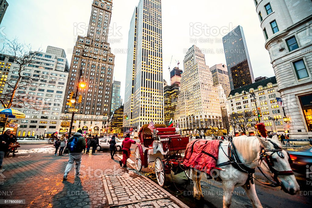 Horse Carriage waiting for passengers near Central Park, NYC stock photo