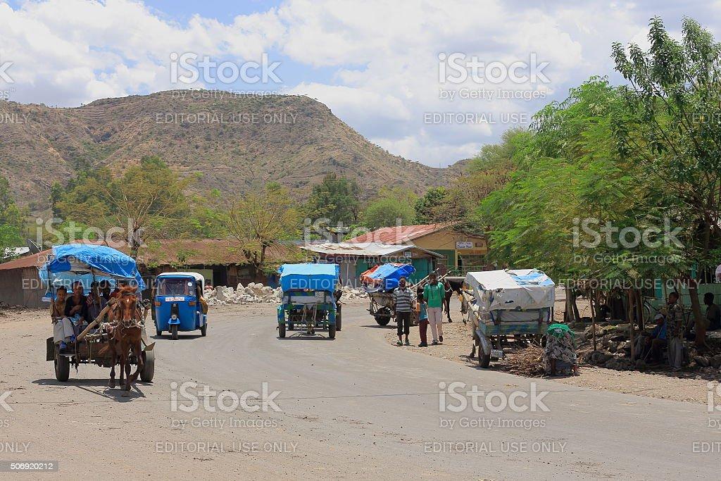 Horse carriages and auto rickshaws. Debre Birhan-Ethiopia. 0005 stock photo