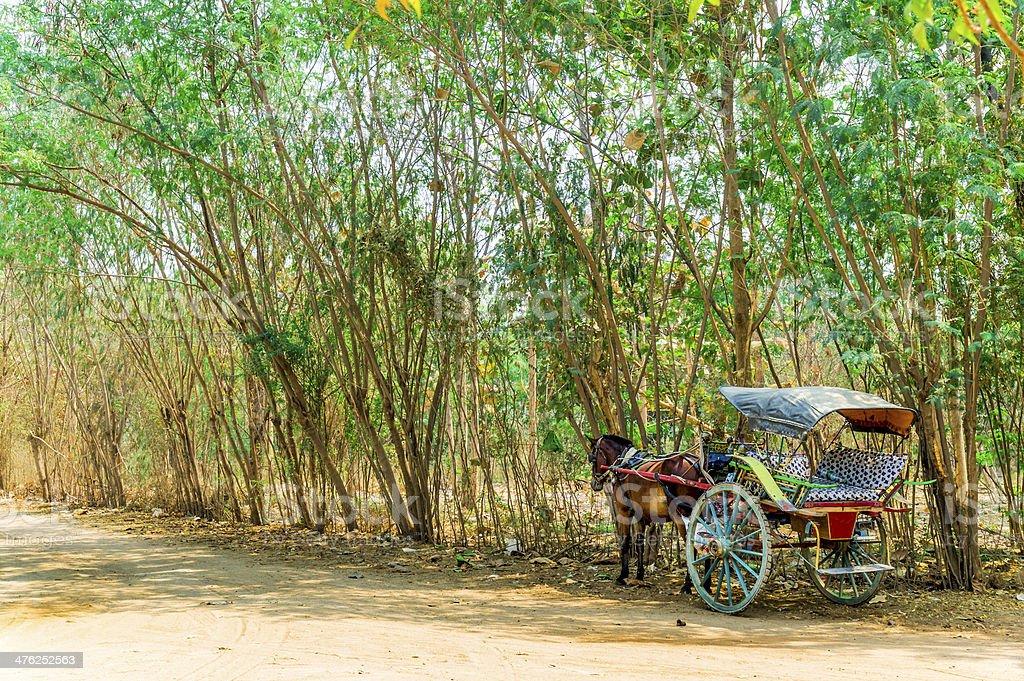 Horse cart in Old Bagan Myanmar royalty-free stock photo