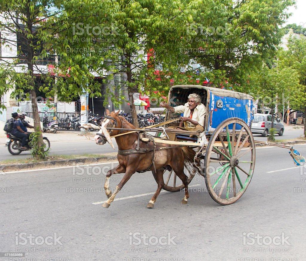 Horse cart on Bangalore street royalty-free stock photo
