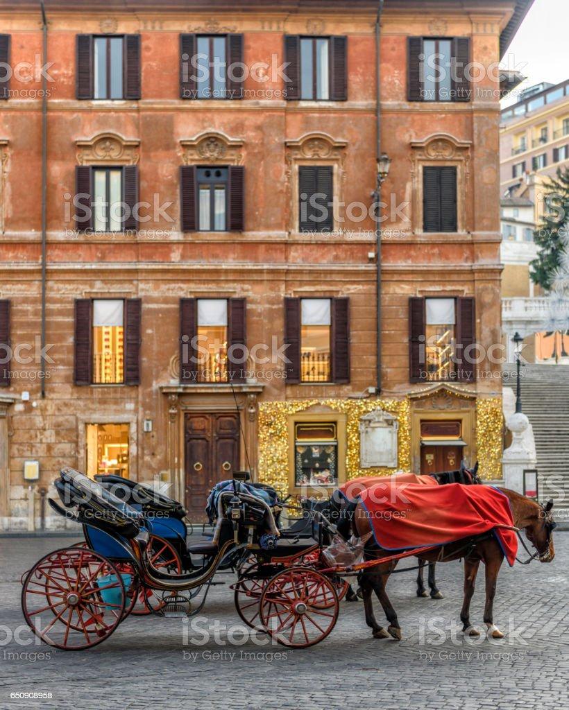 Horse carts in Piazza di Spagna, Rome stock photo