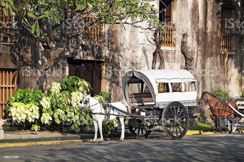 Horse Drawn Calesa, Manila - Philippines. stock photo