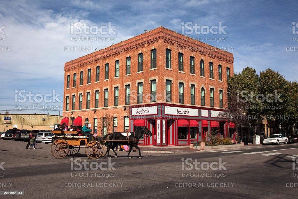 Horse drawn carriage and shops Pueblo Colorado stock photo