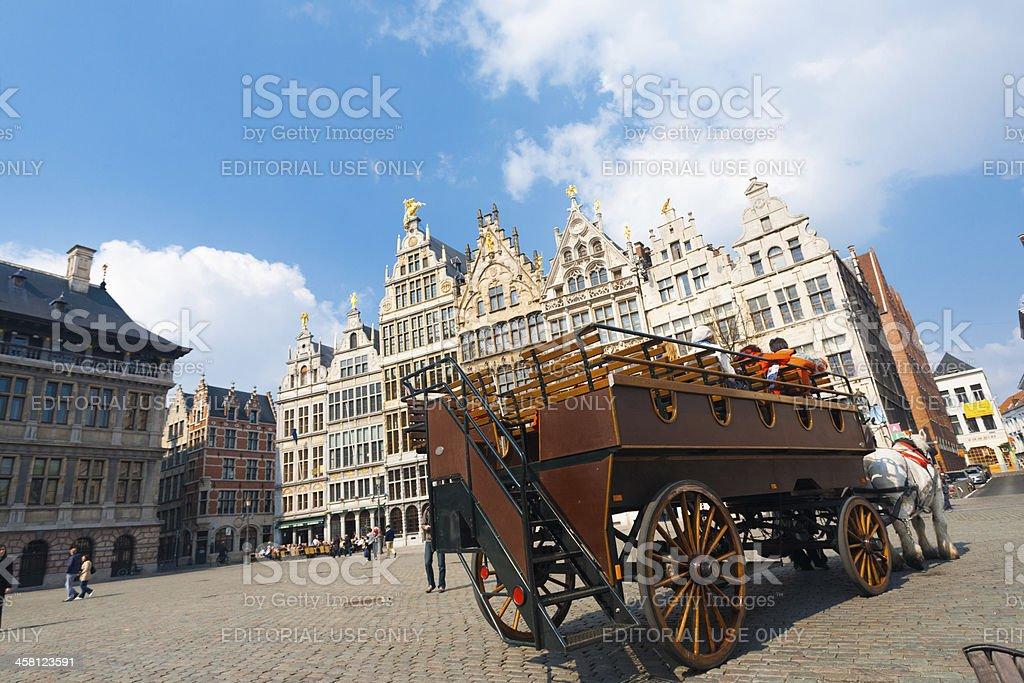 Horse Drawn Carriage Grote Markt Antwerp stock photo