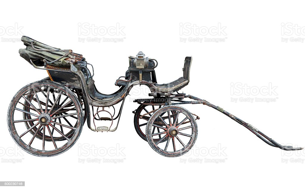 Horse drawn carriage isolated on white backhround stock photo