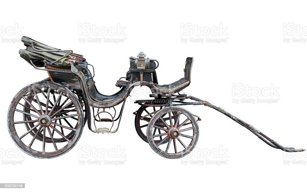 Horse drawn carriage isolated on white backhround stock photo