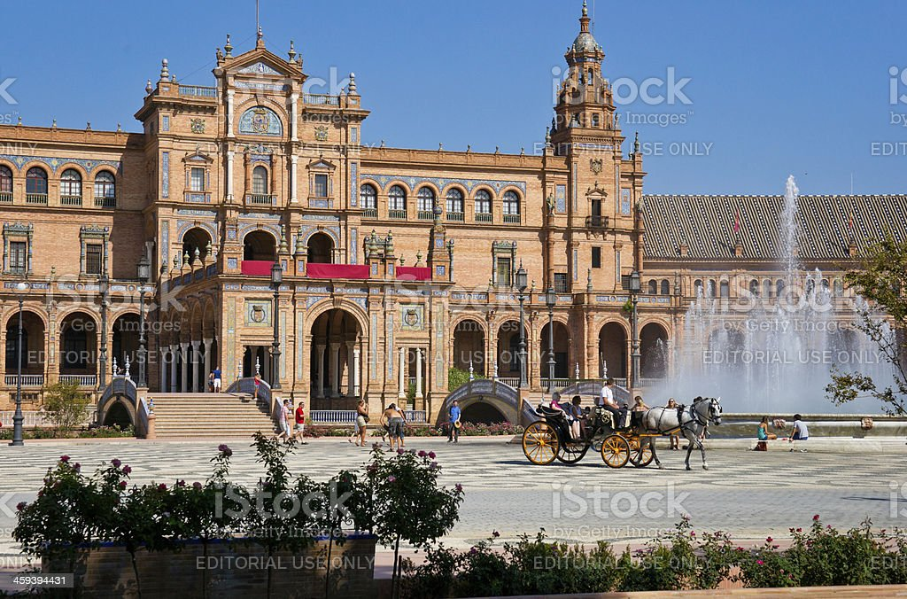 Horse Drawn Carriage on Plaza de Espana in Seville, Spain stock photo
