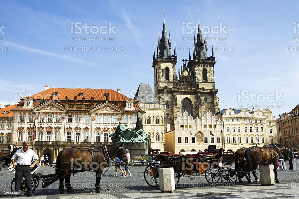 Horse drawn carriages in Prague Old town square royalty-free stock photo