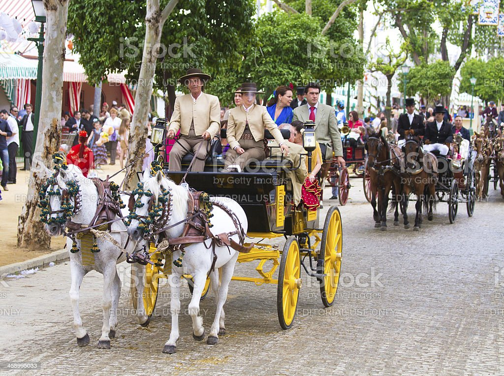 horse drawn carriages on the Fair of Seville stock photo