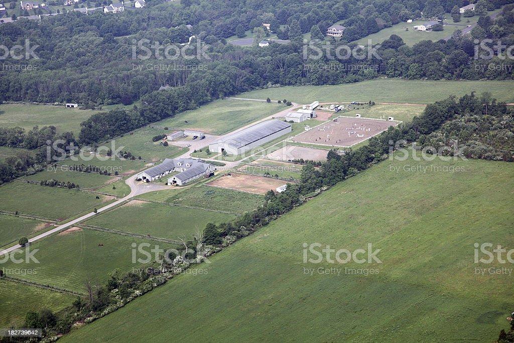 Horse Farm Aerial royalty-free stock photo