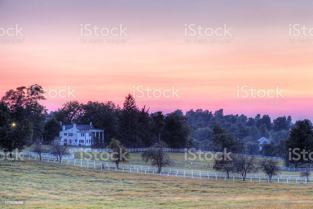 Horse Farm Sunset stock photo