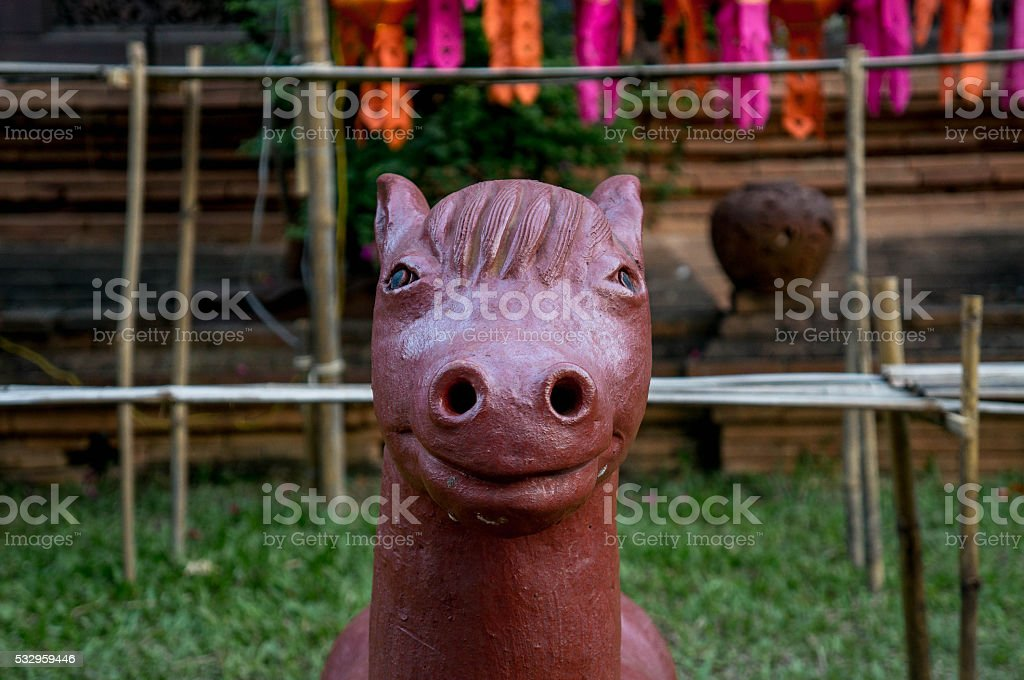 Horse figurine in front of a temple in Chiang Mai stock photo