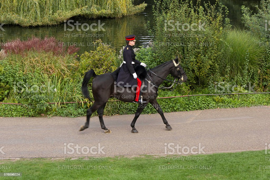 Horse Guard in St.James Park in London stock photo