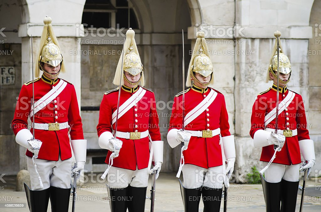Horse Guards troopers ready for inspection in London stock photo