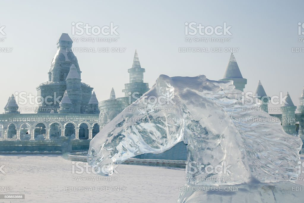 Horse head made of ice stock photo