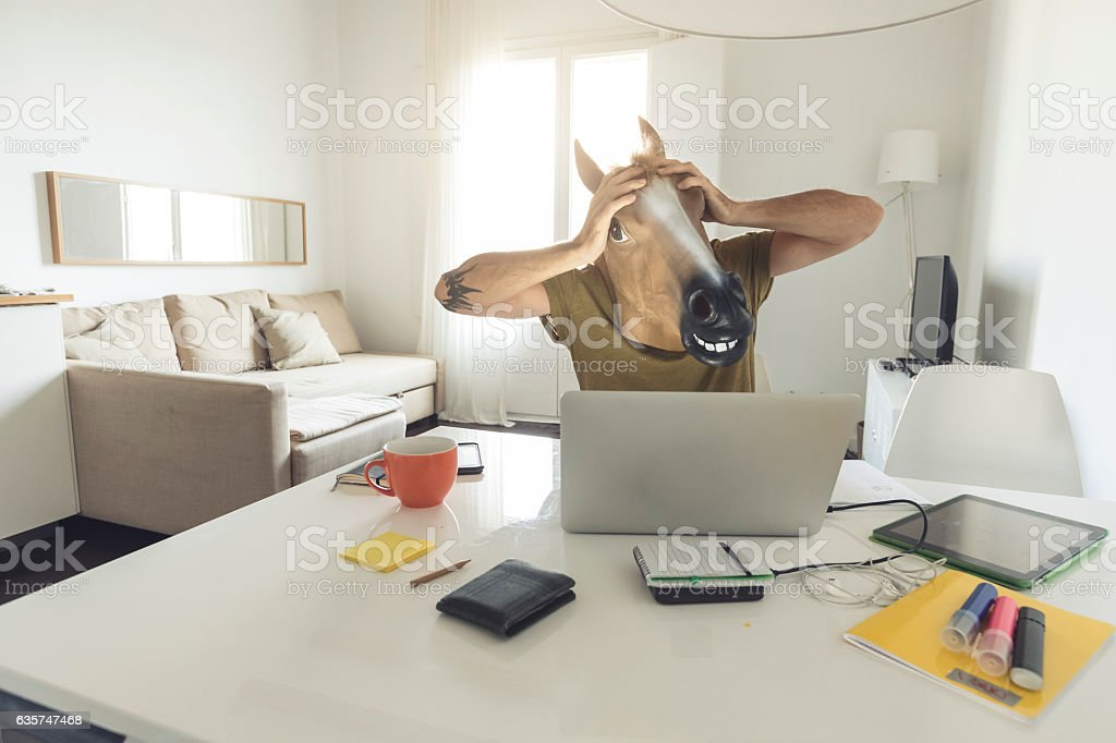 Horse head man working on laptop at home stock photo