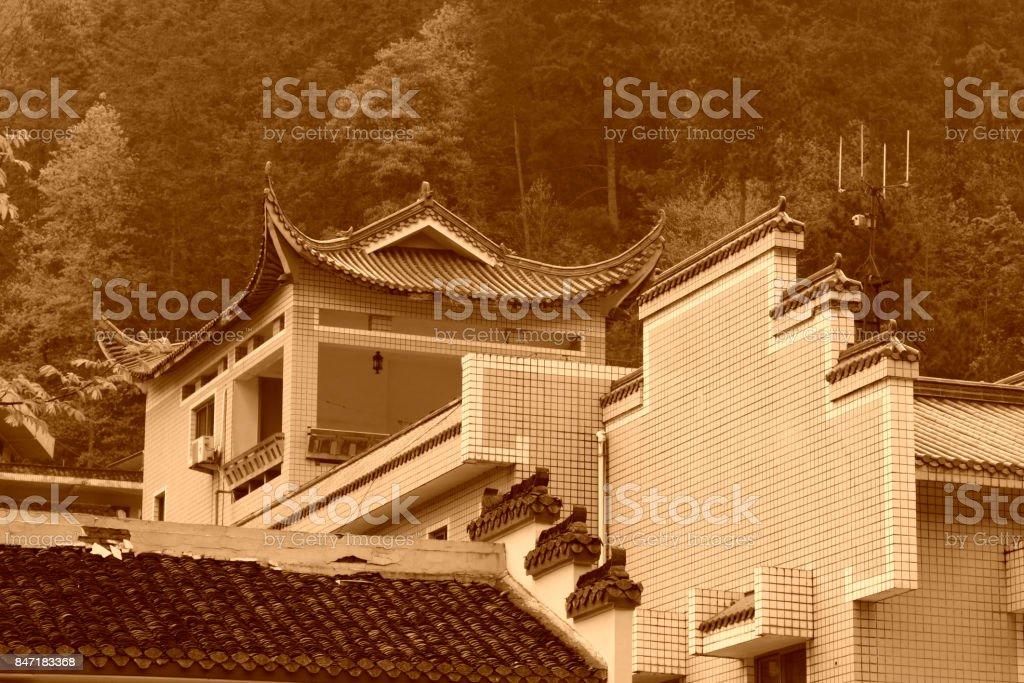 Horse head wall in antique buildings, in Zhangjiajie scenic area, Hunan, China stock photo