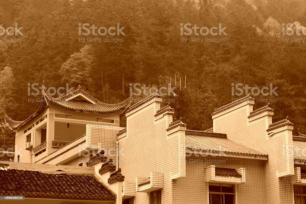 Horse head wall in antique buildings, in Zhangjiajie scenic area stock photo