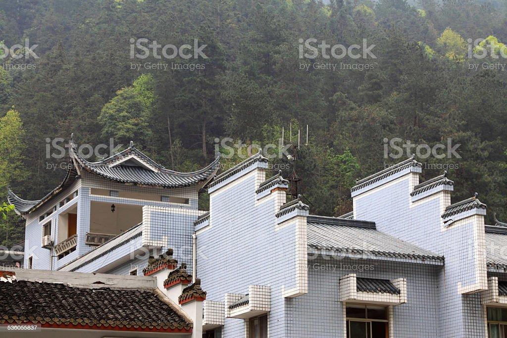 Horse head wall in antique buildings, Zhangjiajie scenic area stock photo