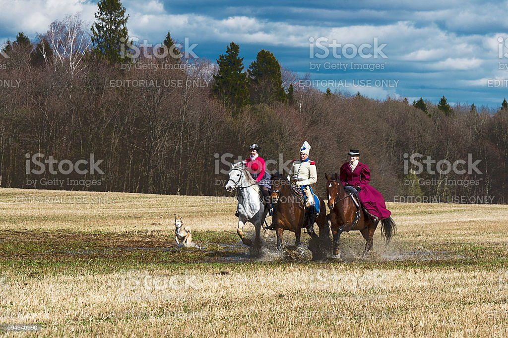 horse hunting stock photo