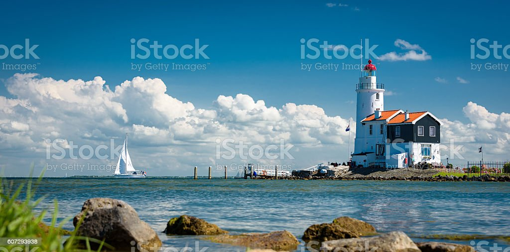 Horse Marken lighthouse, Netherlands stock photo