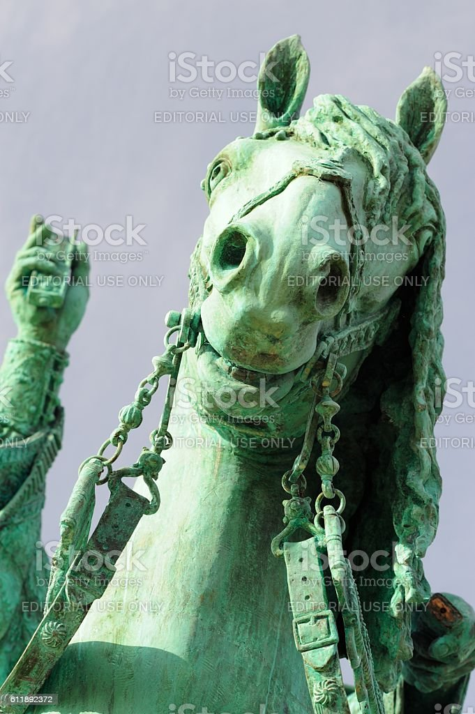 Horse of Ivan the Terrible monument closeup stock photo