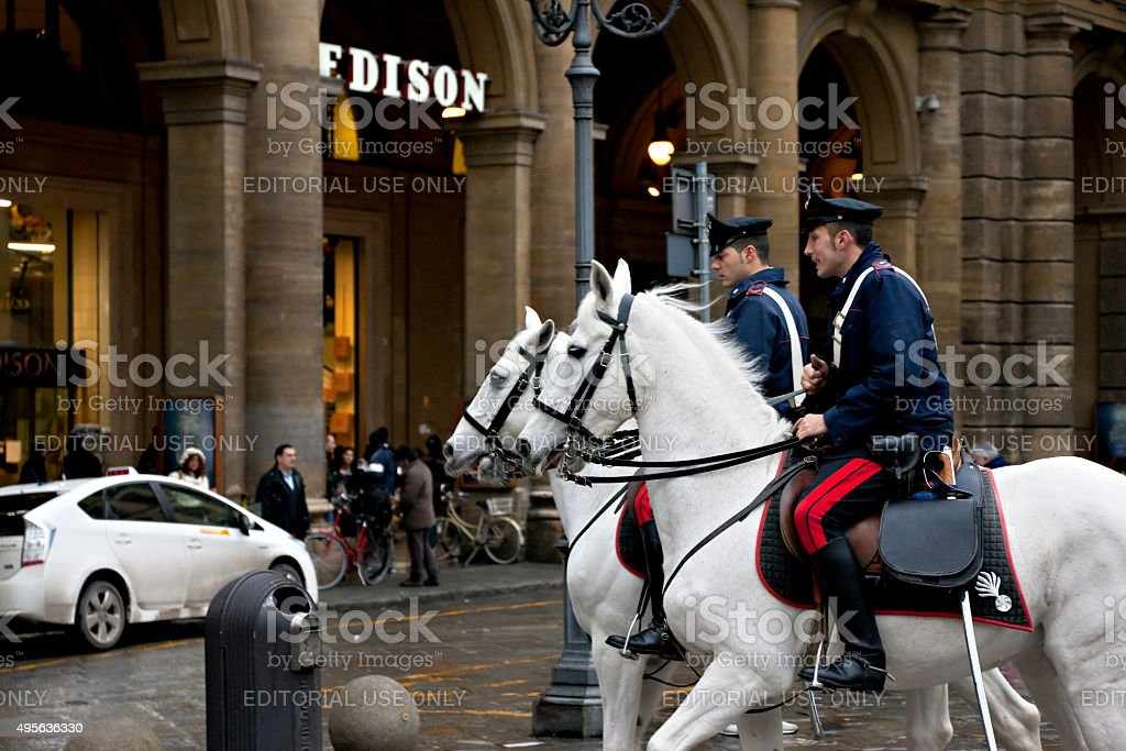 Horse Police in Florence, Italy stock photo
