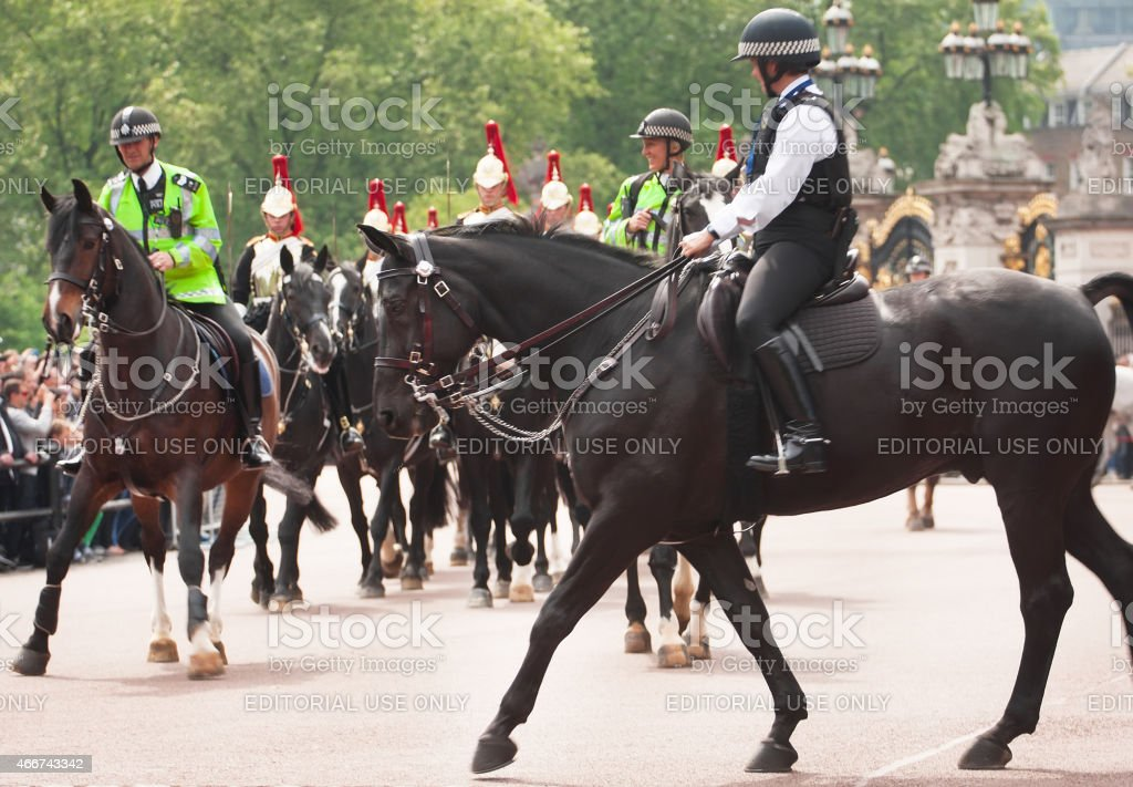 Horse police in London stock photo