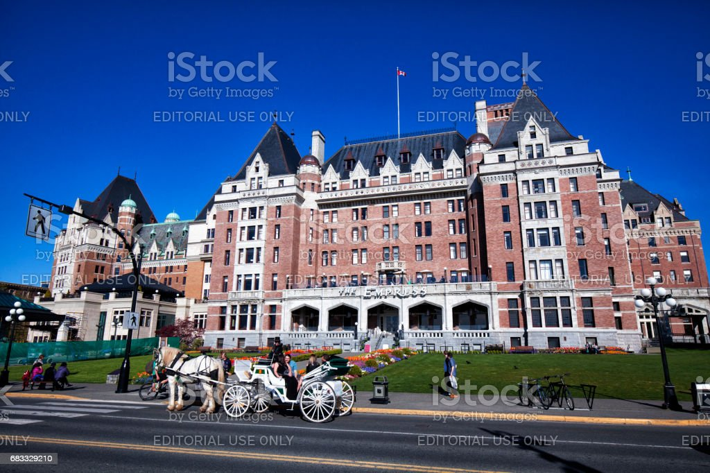 Horse pulled carriage, Victoria, BC, Canada stock photo