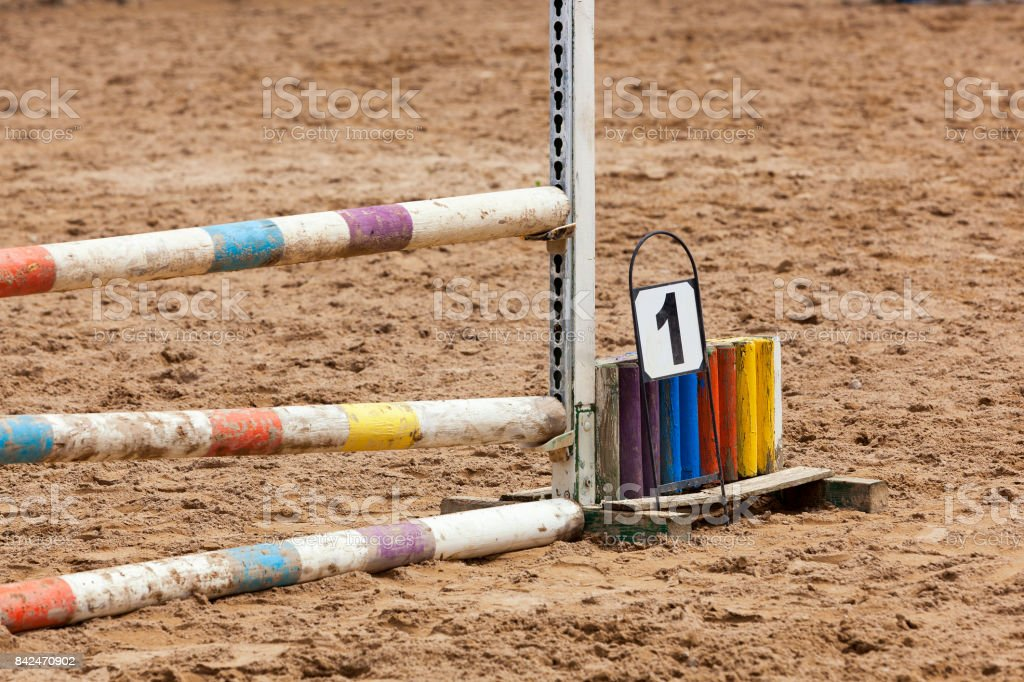 Horse race barrier detail stock photo