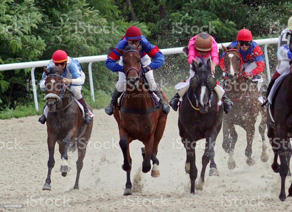 Horse racing in Pyatigorsk. stock photo
