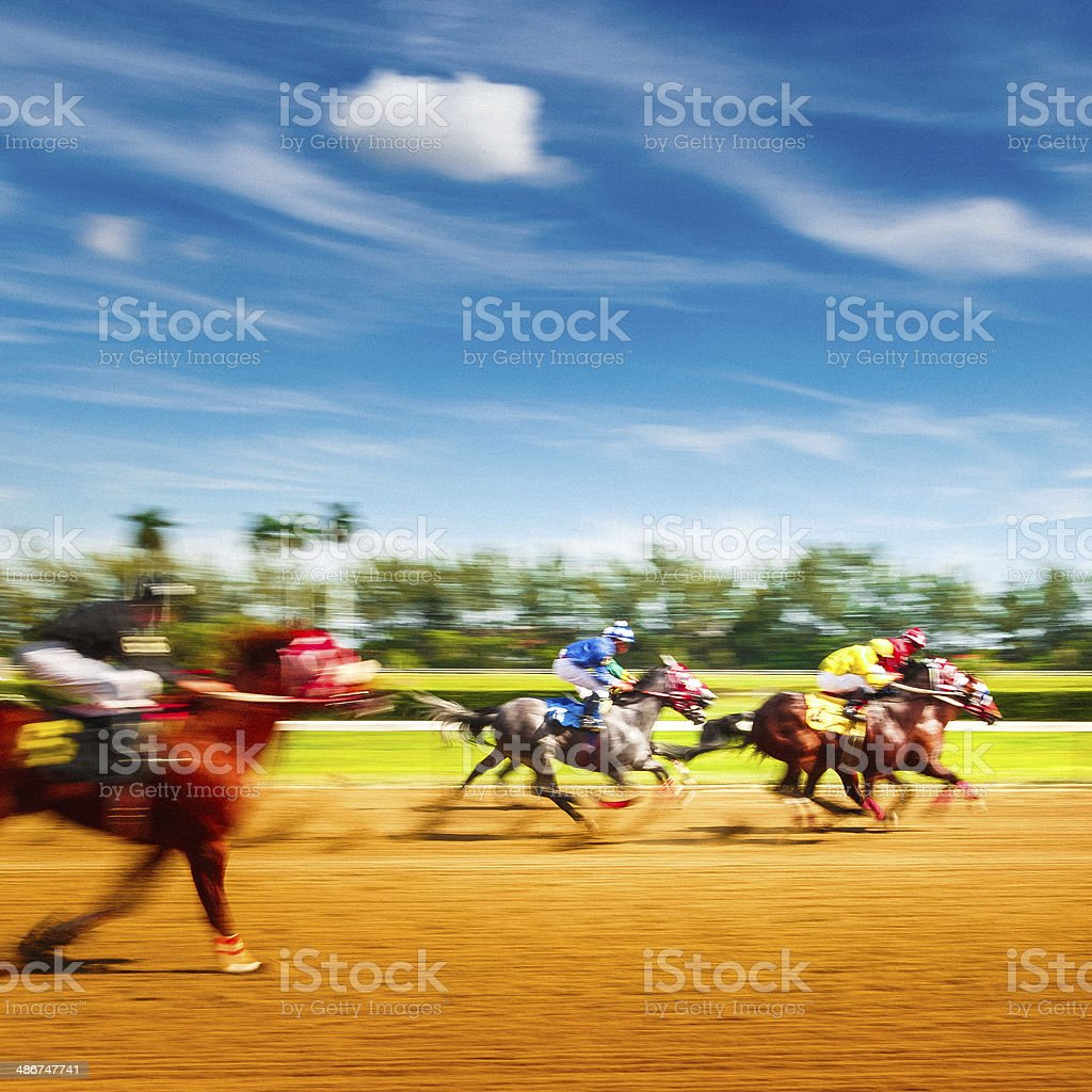 Horse Racing Motion Blur stock photo