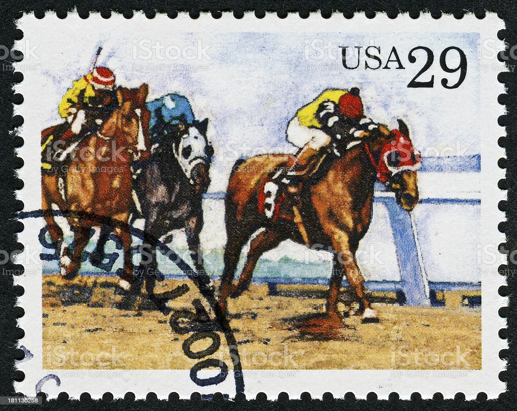 Horse Racing Stamp royalty-free stock photo