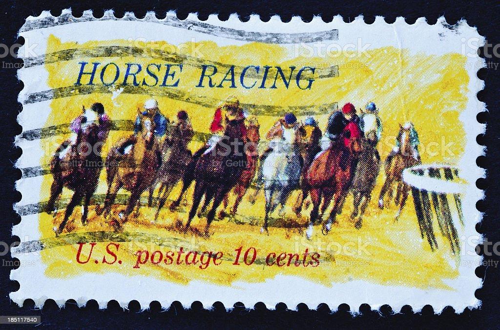 Horse Racing Stamp stock photo