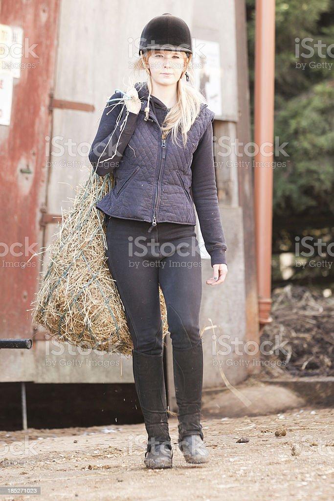 Horse Rider and Hay Net stock photo