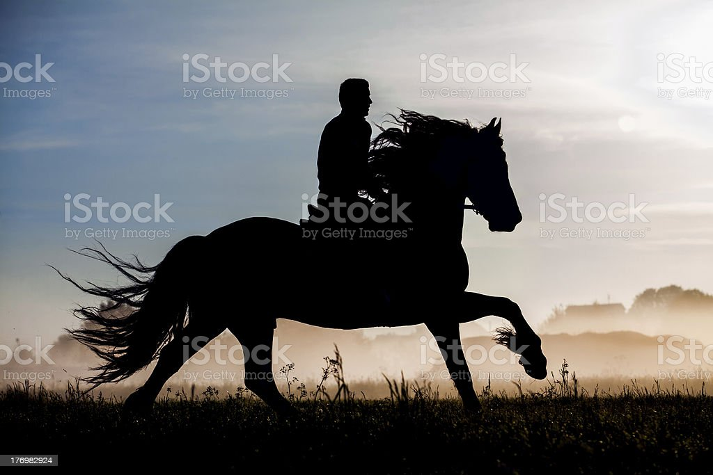 Horse rider at sunset stock photo