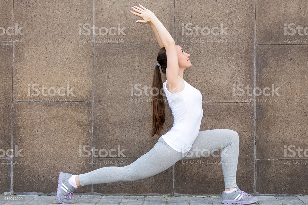 Horse rider exercise against the wall stock photo