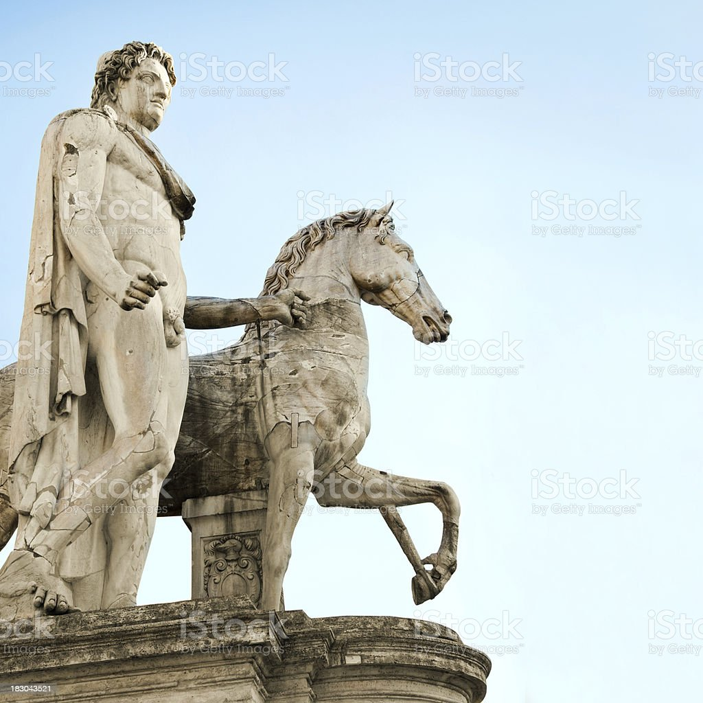 Horse Rider Statue in Rome royalty-free stock photo