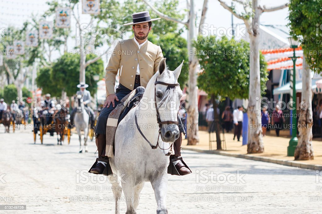 Horse rider taking a walk by the fair of Seville stock photo